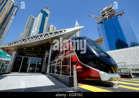 New Dubai tram at station in Marina district of New Dubai in United Arab Emirates - Stock Photo