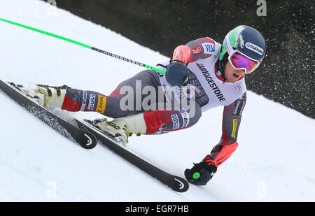 Garmisch-Partenkirchen, Germany. 01st Mar, 2015. Ted Ligety of the USA rides the 2nd run at the Men's Giant Slalom - Stock Photo