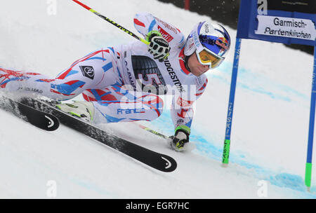 Garmisch-Partenkirchen, Germany. 01st Mar, 2015. Alexis Pinturault of France rides the 2nd run at the Men's Giant - Stock Photo
