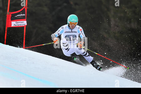 Garmisch-Partenkirchen, Germany. 01st Mar, 2015. Felix Neureuther of Germany rides the 2nd run at the Men's Giant - Stock Photo