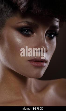 Glamorous Fashion Model with Dark Mascara - Stock Photo
