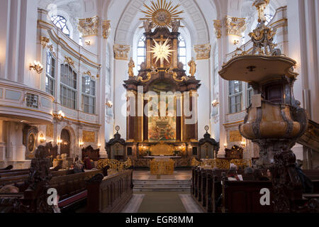 Interior with Altar in the Protestant St. Michaelis Church, Hamburg, Germany, Europe - Stock Photo