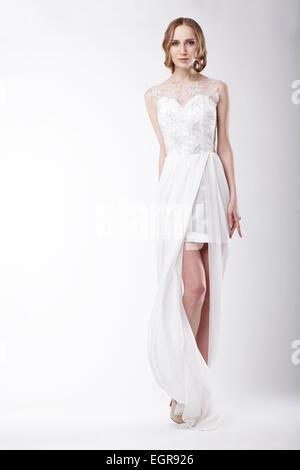 Beautiful Young Woman Wearing Festive Dress - Stock Photo