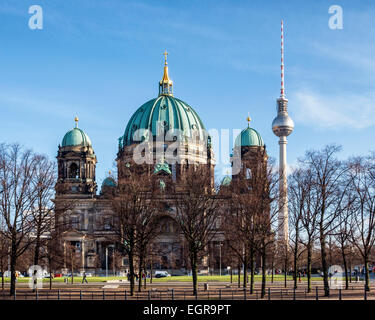 Berlin Dome, Berliner Dom, Berlin cathedral, Protestant Evangelical church, Baroque style building with green dome - Stock Photo