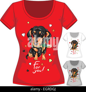 Vector T-shirt with dachshund and flower - Stock Photo
