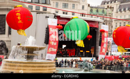 LONDON - FEBRUARY 22nd: Chinese lanterns at the Chinese new year celebrations on February the 22nd, 2015, in London, - Stock Photo