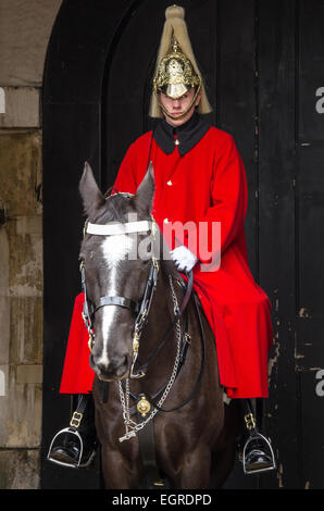 Household Cavalry guardsman in Horse Guards Parade in London, UK. Space for copy - Stock Photo