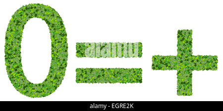 0 = +, equals, plus, zero made from green leaves isolated on white background. - Stock Photo