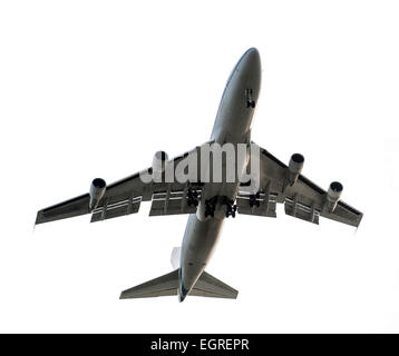 jumbo jet from underneath on a white background - Stock Photo