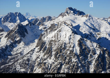 MONTE ARGENTERA (aerial view). Highest summit (3297m) in the coastal Alps. Summit in Italy, viewed from the French - Stock Photo