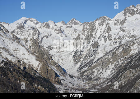 GORDOLASQUE VALLEY (aerial view). Mercantour National Park, Alpes-Maritimes, French Riviera, France. - Stock Photo