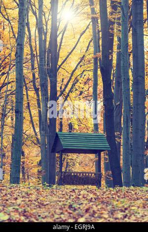 Animals feeder in autumn forest, vintage look - Stock Photo