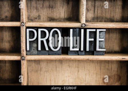 The words 'PRO LIFE' written in vintage metal letterpress type in a wooden drawer with dividers. - Stock Photo