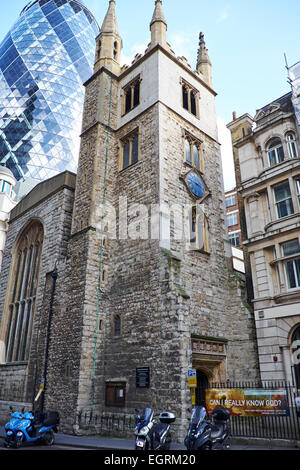 St Andrew Undershaft Church St Mary Axe City Of London UK - Stock Photo