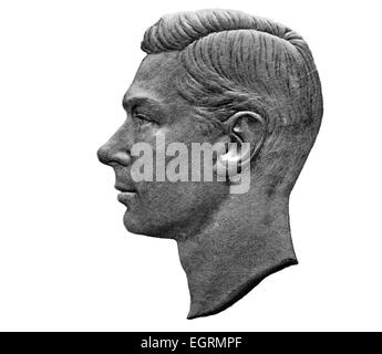 Portrait of King George VI from 5 shillings coin, UK, 1951, on white background - Stock Photo