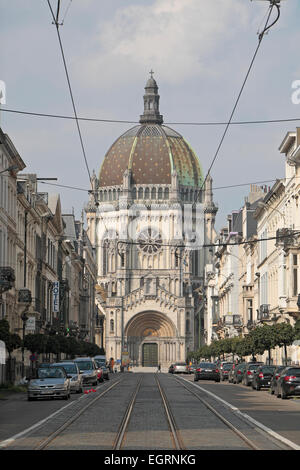 View up Rue Royale towards the dome of Eglise Royale Sainte-Marie (Saint Mary's Royal Church) in Brussels, Belgium. - Stock Photo