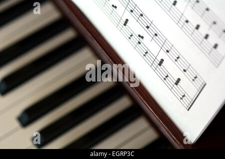 A Vintage Piano Photo With A Close Up On The Keys Stock Photo