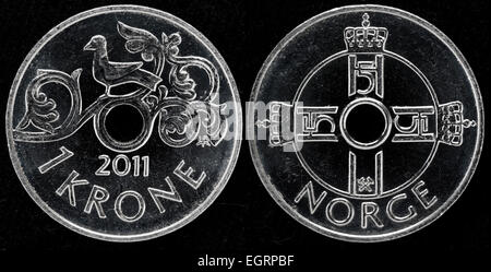 1 krone coin, Norway, 2011 - Stock Photo