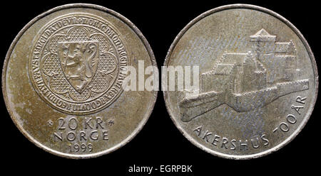 20 kroner coin, Akershus fortress, Norway, 1999 - Stock Photo