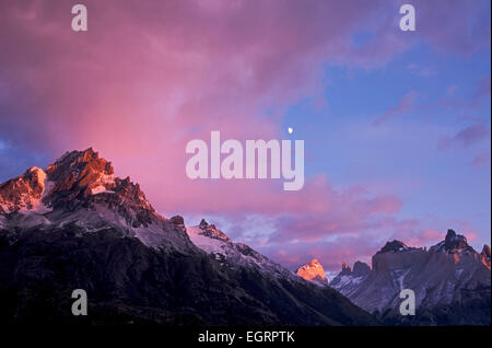 Moon over Bariloche Peak (L, 8,530 ft.), Torres del Paine National Park, Patagonia, Chile - Stock Photo