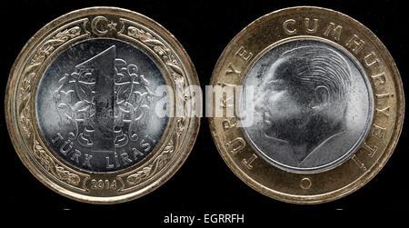 1 Lira coin, Turkey, 2014 - Stock Photo
