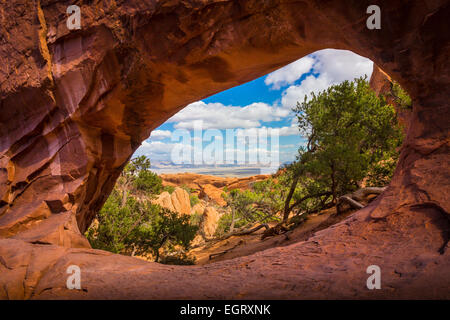 Double O Arch in Arches National Park, a US National Park in eastern Utah. - Stock Photo