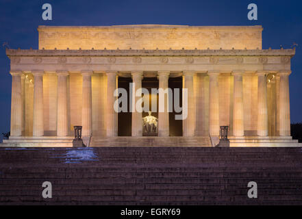 The Lincoln Memorial is an American memorial built to honor the 16th President of the United States, Abraham Lincoln. - Stock Photo