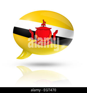 three dimensional Brunei flag in a speech bubble isolated on white with clipping path - Stock Photo