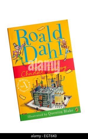 A paperback copy of Charlie and the Chocolate Factory by Roald Dahl, with illustrations by Quentin Blake. - Stock Photo