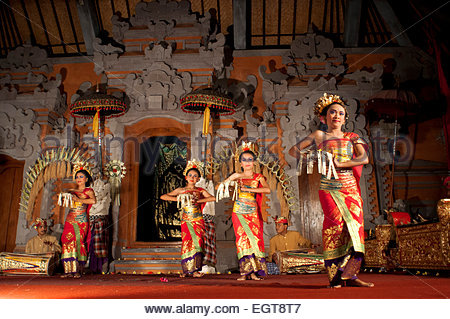 Dance called 'Legong Dance' at the Palace of Ubud. Ubud-Bali. Traditional balinese dance in Ubud. - Stock Photo