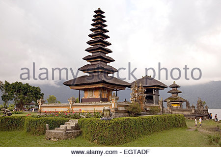 Temple of Ulu Danu, Candikuning, Bali, Indonesia - Stock Photo