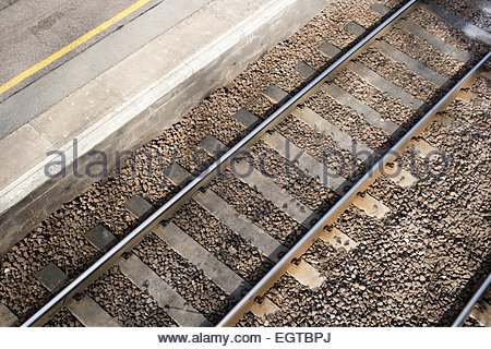 Looking down onto railway tracks from above - Stock Photo