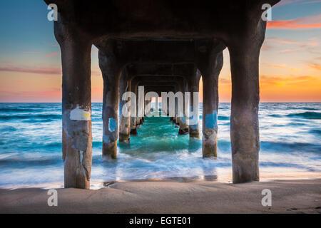 The Manhattan Beach Pier is a pier located in Manhattan Beach, California, on the coast of the Pacific Ocean. - Stock Photo