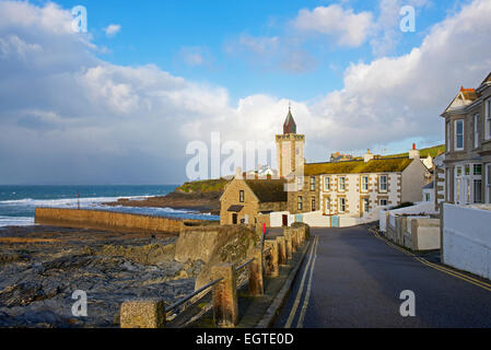 The clock tower, Porthleven, Cornwall, England UK - Stock Photo