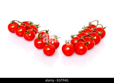 Fresh ripe cherry tomatoes on white background - Stock Photo