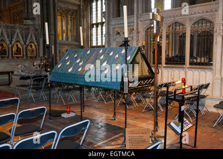 St Swithun's memorial shrine in the retrochoir of Winchester Cathedral. Winchester. UK. - Stock Photo