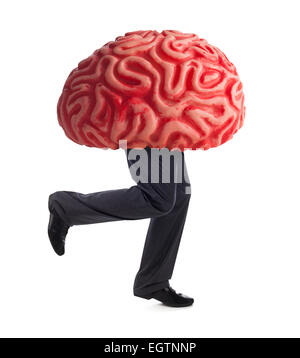 Metaphor of the brain drain. Rubber brain legs while running on white background. - Stock Photo