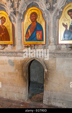 The entrance of 'Holy Hole' St Swithun's / Saint Swithun 's (former) shrine & icon. Inside Winchester Cathedral, - Stock Photo