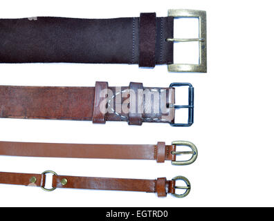 four belts on white background - Stock Photo