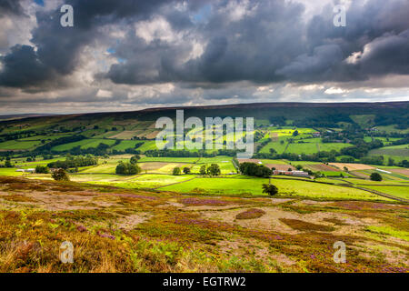 A view over moors near Castelton, North York Moors National Park, North Yorkshire, England, United Kingdom, Europe. - Stock Photo