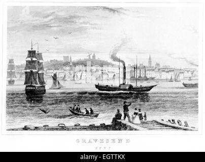 An engraving of Gravesend, Kent scanned at high resolution from a book printed around 1850. - Stock Photo
