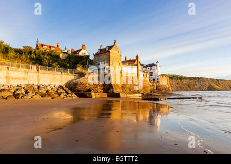 Robin Hood's Bay a small fishing village and a bay located within the North York Moors National Park, near Whitby, - Stock Photo