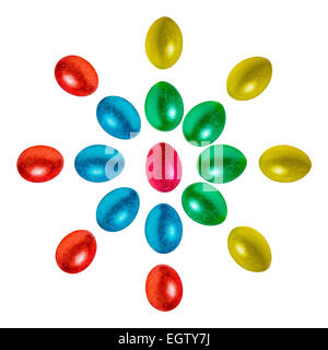 Easter eggs flower, sun or mandala isolated against white background. Eggs of red, blue, green, yellow and orange - Stock Photo
