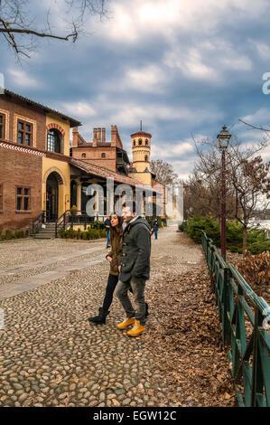 Italy piedmont Turin, Valentino park The Medieval Village, ( Reconstruction ) - Stock Photo