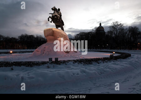 The Bronze Horseman is an equestrian statue of Peter the Great in Saint Petersburg, Russia - Stock Photo