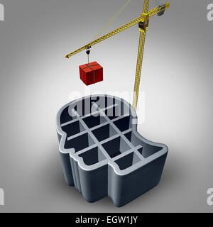 Construction head concept as a building shaped as a human face being built with a crane as an architecture development - Stock Photo