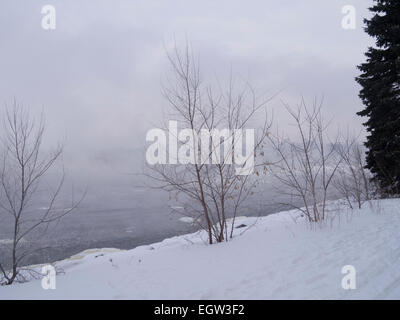 Fog on the river on an overcast day in winter - Stock Photo