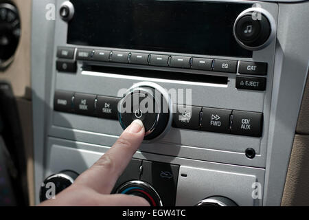 Car Stereo Power Button - Stock Photo