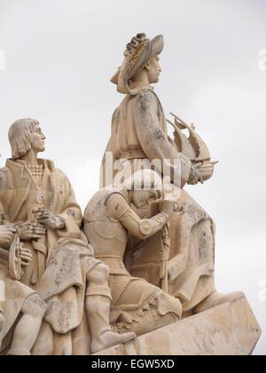 Portuguese discoverers statues including Henry the Navigator on the Padrão dos Descobrimentos in Belém, Lisbon, - Stock Photo