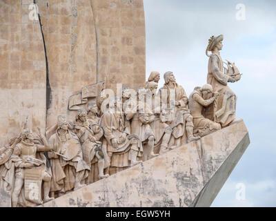 Detail of the portuguese discoverers statues on the Padrão dos Descobrimentos in Belém, Lisbon, Portugal - Stock Photo